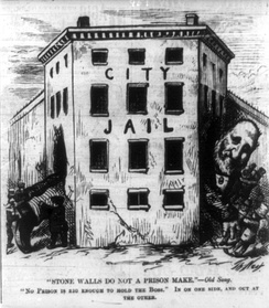 """Stone Walls Do Not a Prison Make"": Editorial cartoon by Thomas Nast predicting Tweed could not be kept behind bars (Harper's Weekly, January 6, 1872)[33]"