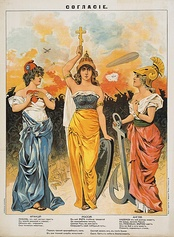 1914 Russian poster depicting the Triple Entente