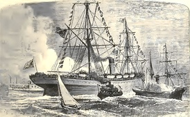 USS Indiana, Delaware Bay, 1877, departing Philadelphia, bound for England