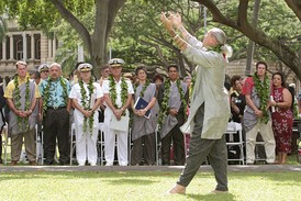 Hula performance at a ceremony depicting the turning over U.S. Navy control over the island of Kahoolawe to the state performed by Uncle Frank Kawaikapuokalani Hewett