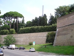 A section of the wall in Vatican City, from the outside, behind the Vatican Gardens.