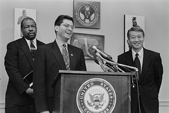 Xavier Becerra, Robert Matsui, and Elijah Cummings at a press conference on civil rights in 1997
