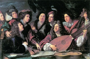 Portrait of Several Musicians and Artists by François Puget. Traditionally the two main figures have been identified as Lully and the librettist Philippe Quinault. (Louvre)