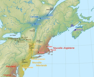 Political map of the northeastern part of North America in 1664