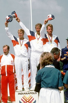 A medal ceremony during the 1987 Pan American Games in Indianapolis.