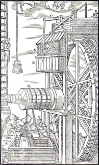 A water-powered mine hoist used for raising ore, ca. 1556