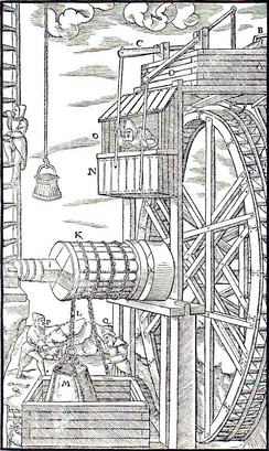 Water wheel powering a mine hoist in De re metallica (1566)