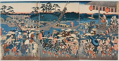 A boarding place for a ferry on the Miya River, which is crowded with people visiting Ise Grand Shrine. by Hiroshige
