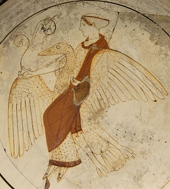 Aphrodite riding a swan: Attic white-ground red-figured kylix, c. 460, found at Kameiros (Rhodes)
