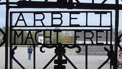 Gate in the Dachau concentration camp memorial.