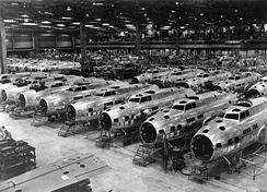 Boeing B-17E Flying Fortress bombers under construction, circa 1942