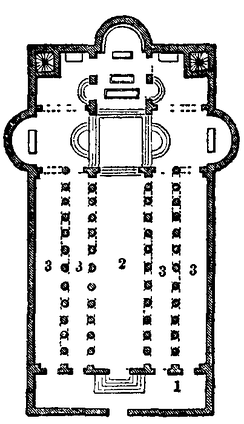 Plan of the Church of the Nativity from the 1911 Encyclopædia Britannica. (1) Narthex; (2) nave; (3) aisles. The Grotto of the Nativity is situated right underneath the chancel, with the silver star at its eastern end (top side of the plan). North is to the left