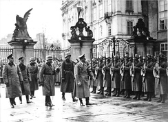 Adolf Hitler on his visit to Prague Castle after the establishment of a German protectorate, 15 March 1939