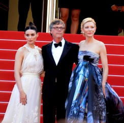 Mara, Todd Haynes and Cate Blanchett promoting Carol at the 2015 Cannes Film Festival.