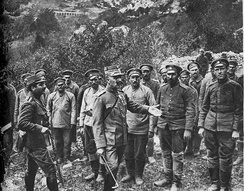 Colonel Nikolaos Christodoulou, one of the leaders of the Greek National Defence Army, interrogates Bulgarian prisoners of war.