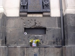 Bullet-scarred window of the Church of Saints Cyril and Methodius in Prague where the attackers were cornered.
