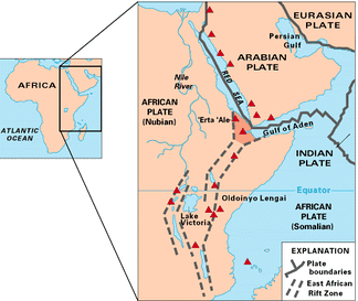 A map of East Africa showing some of the historically active volcanoes (as red triangles) and the Afar Triangle (shaded at the center), which is a so-called triple junction (or triple point) where three plates are pulling away from one another: the Arabian Plate and two parts of the African Plate—the Nubian and Somali—splitting along the East African Rift Zone.