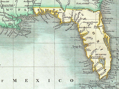 Excerpt of 1803 map by John Cary showing East and West Florida, limited by the United States' claim to part of Spain-controlled West Florida.