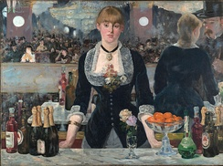 Bottles of Bass on the bar in Manet's 1882 A Bar at the Folies-Bergère
