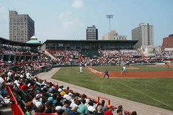 UPMC Park from the first-base side, overlooking downtown Erie