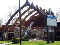Church in Beaumont with roof ripped off by Hurricane Rita.