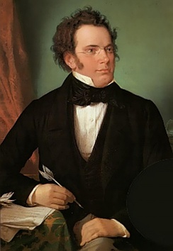 Oil painting of Franz Schubert by Wilhelm August Rieder (1875), made from his own 1825 watercolour portrait