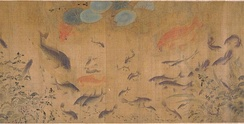 Goldfish and other carp from Fish Swimming Amid Falling Flowers, a Song dynasty painting by Liu Cai  (c. 1080–1120)