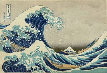 The Great Wave off Kanagawa by Hokusai, a famous artwork which makes extensive use of Prussian blue