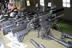 A Croatian Army HK417 12″ 'Assaulter' model on display.