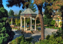 Tomb of Hafez, the medieval Persian poet whose works are regarded as a pinnacle in Persian literature and have left a considerable mark on later Western writers, most notably Goethe, Thoreau, and Emerson[114][115][116]