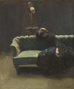 The Acting Manager or Rehearsal: The End of the Act, (portrait of Helen Carte), c. 1885