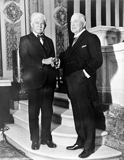 House Majority Leader Henry Rainey (D, left) and House Minority Leader Bertrand Snell (R, right), December 8, 1931