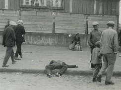 A starved man on the streets of Kharkiv, 1933. Collectivization of crops and their confiscation by Soviet authorities led to a major famine known as the Holodomor.
