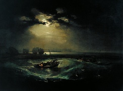 Fishermen at Sea, exhibited in 1796 was the first oil painting exhibited by Turner at the Royal Academy.