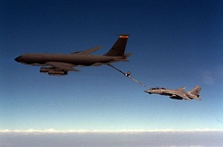 A 108th Air Refueling Squadron KC-135 refueling a US Navy F-14 Tomcat during the 1991 Gulf War