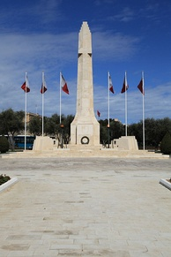 The War Memorial in Floriana, Malta was built in 1938 commemorating the dead of World War I. In 1949 it was rededicated to commemorate the fallen of both world wars.