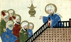 A page from a 15th-century illustrated copy of a book by Al-Bīrūnī, depicting Muhammad at the Farewell Pilgrimage.[15] This image was the subject of a 2008 petition to have it removed from Wikipedia.