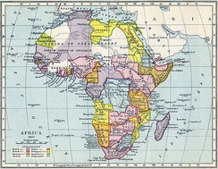 "Map of Africa in 1897 shows European ""sphere[s] of influence""."
