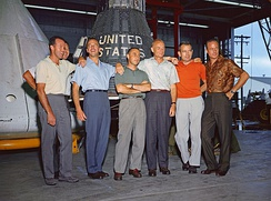 (L to R) Cooper, Schirra (partially obscured), Shepard, Grissom, Glenn, Slayton, and Carpenter