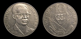 10 Makuta coin depicting Mobutu Sese Seko
