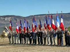 Veterans of the resistance raise flags at the annual commemoration ceremony of Canjuers military camp.