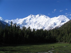 Nanga Parbat in Kashmir, the ninth-highest mountain on Earth, is the western anchor of the Himalayas.