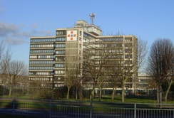 Former head office of the Girobank in Bootle; it closed in 2003; it was taken over by Alliance & Leicester in 1990; it was established in Bootle in the late 1960s with help from Hugh Baird; it was the first financial institution in Europe to be fully computerised from the start