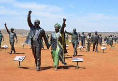 A bronze statue of Nelson and Winnie Mandela, The Long March to Freedom, at Maropeng