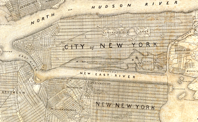 James E. Serrell's plan for an expanded Manhattan and a straightened East River
