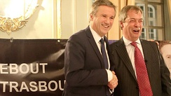 Farage with France Arise leader Nicolas Dupont-Aignan in Strasbourg, February 2013