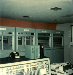 Back-Up Interceptor Control III. At North Turro AFS shortly before shutdown. Background l->r Cabinets Memory 5&6, Memory 7&8, Computer 1, Computer 2. Foreground: Status Display Console, Teletype. Cabinets are about 3' wide, 3' deep, & 7' high. Manufactured by Burroughs