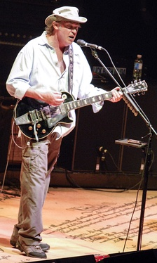 "Neil Young, pictured here on the CSN&Y ""Freedom Of Speech Tour '06,"" returned to the front of the protest music scene with his album Living With War."