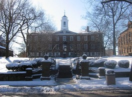 Winter at Old Queens, the oldest building at Rutgers University in New Brunswick, New Jersey, built between 1809–1825. Old Queens houses much of the Rutgers University administration.