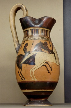 Horseman on a late Corinthean olpe by an associate of the Hippolyte Painter, ca. 575/550 BC, now in the Louvre, Paris